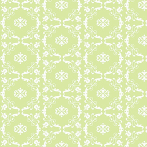Lace Around in Garden Green- SMALL pattern repeat-ed
