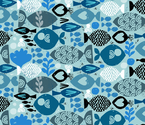 blue fish fabric by ottomanbrim on Spoonflower - custom fabric