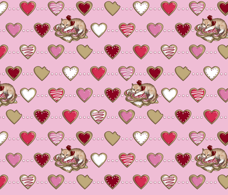 Kitten Sleeping on Sugar Cookie Hearts, Tea Party fabric by ninniku on Spoonflower - custom fabric