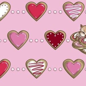 Kitten Sleeping on Sugar Cookie Hearts, Tea Party