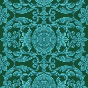India Window in Teal- Green
