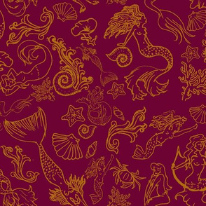 Mermaids Tarot Pattern: Crimson