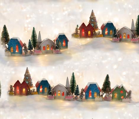 Vintage Christmas Putz Houses fabric by juliamonroe on Spoonflower - custom fabric