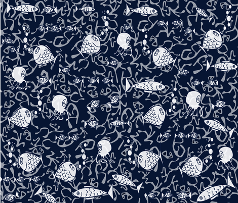 Great reef barrier (blue) fabric by les_motifs_de_sarah on Spoonflower - custom fabric