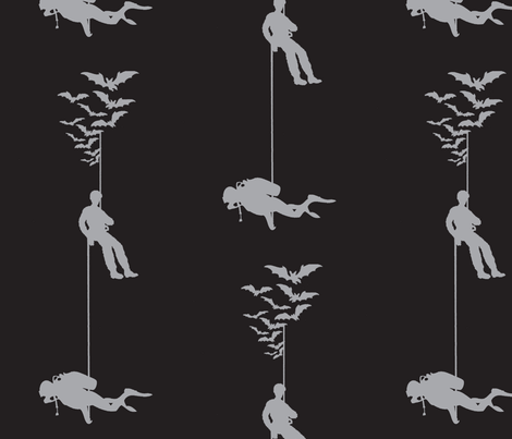 Bats_caver_cavediver_black_mdgrey fabric by andreeacohn on Spoonflower - custom fabric