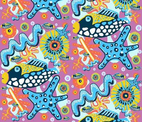 Big Fish, Little Fish fabric by slumbermonkey on Spoonflower - custom fabric