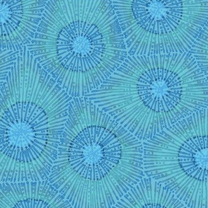 coral pattern in teal and blue