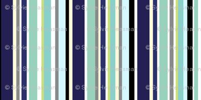 Stripes of Aquas and Blues.
