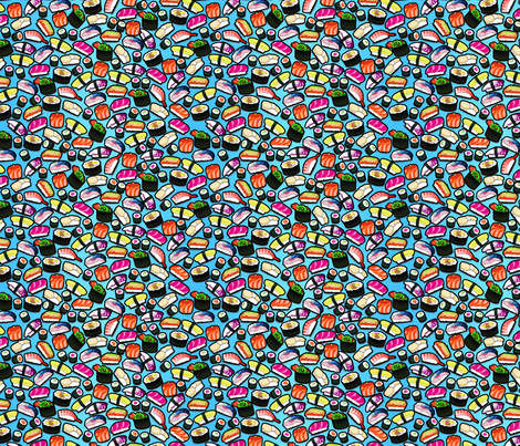 Sushi Blue fabric by thickblackoutline on Spoonflower - custom fabric