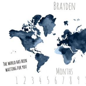 World Adventure Map Baby Milestone Blanket
