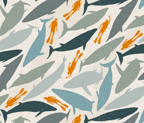 A Very Curious Whale fabric by mariaspeyer on Spoonflower - custom fabric