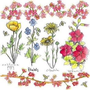Garden Flowers & Bees