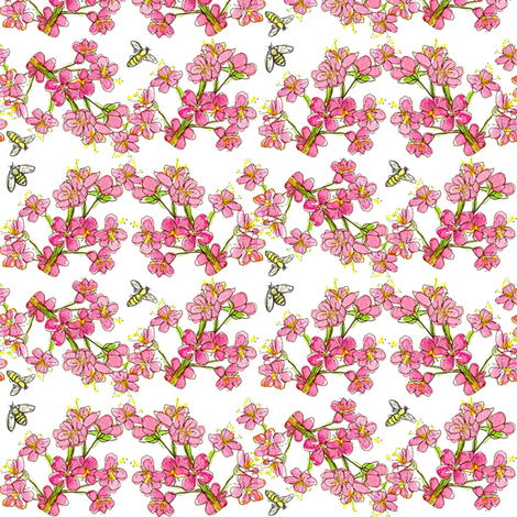 Pink Fruit Blossoms & Bees fabric by countrygarden on Spoonflower - custom fabric