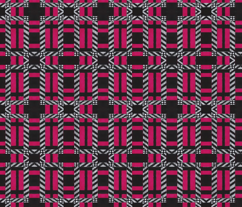 Plaid in dark pink white and black fabric by fashionita_boutique on Spoonflower - custom fabric