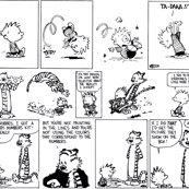 calvin & hobbs black and white