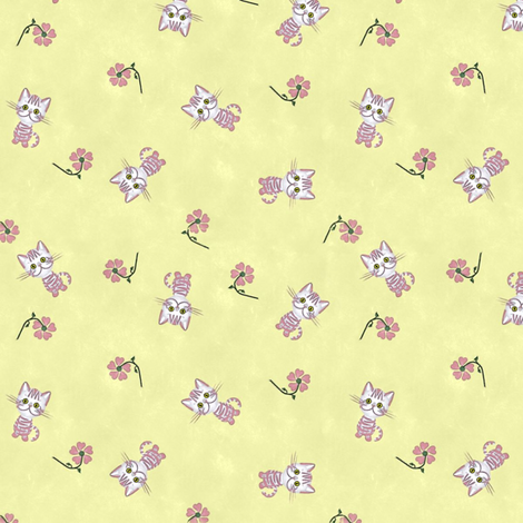 Pink Kittens on Yellow fabric by jabiroo on Spoonflower - custom fabric