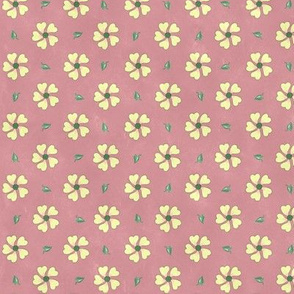 Pretty Kittens Cream Flowers on Dark Pink