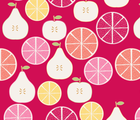 pomme_poire_orange_rouge_M fabric by nadja_petremand on Spoonflower - custom fabric