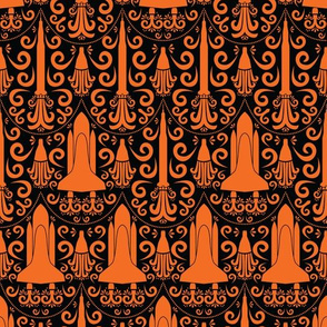 Rocket Science Damask (Black and Orange)