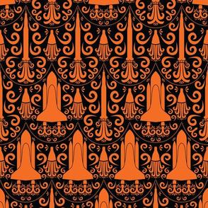 Rocket Science Damask (Black and Orange)