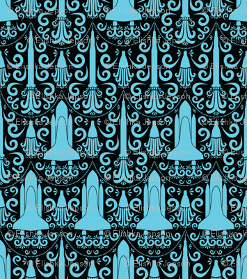 Rocket Science Damask (Black and Blue)