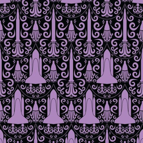 Rocket Science Damask (Black and Purple)