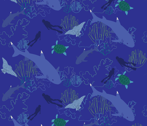 Swimming with sharks fabric by sehnsational_designs on Spoonflower - custom fabric