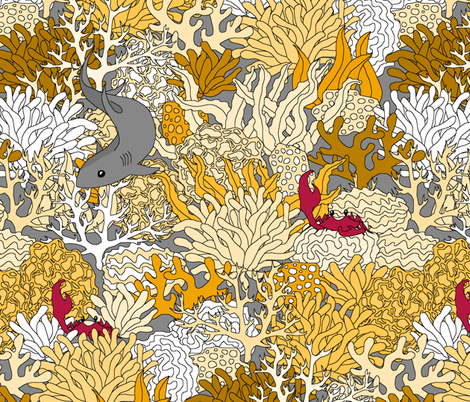 Golden Reef with Shark fabric by pond_ripple on Spoonflower - custom fabric