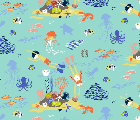 Meet at the Reef fabric by cerigwen on Spoonflower - custom fabric