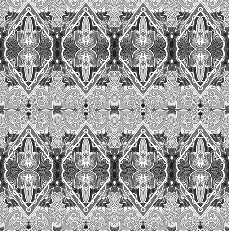 Miss Kitty's Saloon (black and white) fabric by edsel2084 on Spoonflower - custom fabric