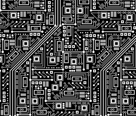 Robot Circuit Board - Large (Black and White) fabric - robyriker ...