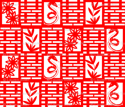 Snakes In The Garden Chinese Paper Cutting