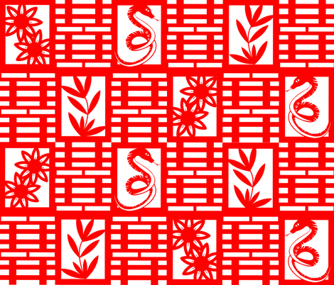 Snakes In The Garden Chinese Paper Cutting fabric by illustrative_images on Spoonflower - custom fabric