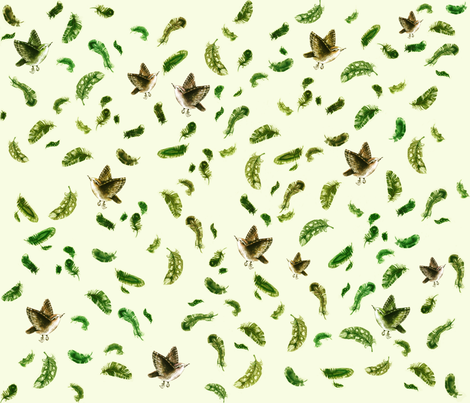 Sparrow and Feathers in Green fabric by thistleandfox on Spoonflower - custom fabric