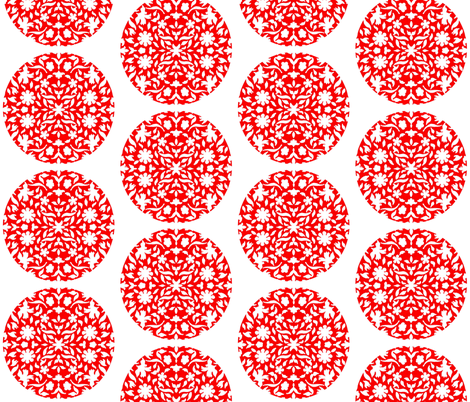 Middle Eastern Chinese Paper-Cut Red on White Circles fabric by zsmama on Spoonflower - custom fabric