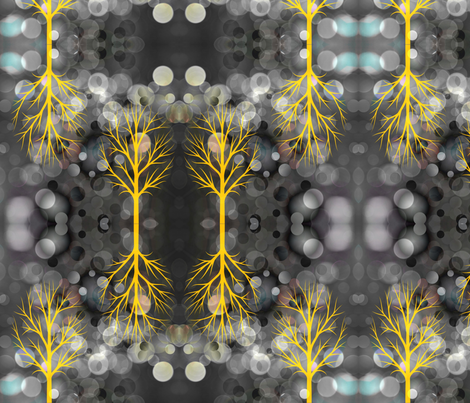 Glowing Yellow Trees fabric by papertrips on Spoonflower - custom fabric