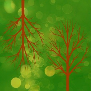 Bright Greenlit Trees