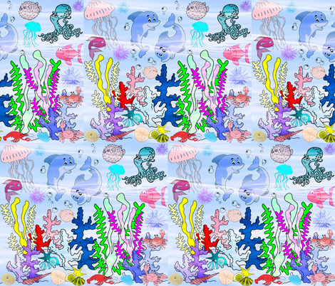 GREAT BARRIER REEF CRYSTAL WATERS fabric by bluevelvet on Spoonflower - custom fabric