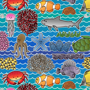 Sea weaves, animals and corals