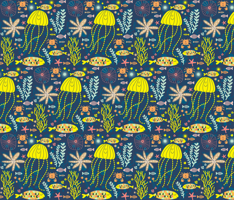 Jelly fish - great barrier reef fabric by laurawrightstudio on Spoonflower - custom fabric