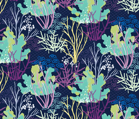 Coral Reef - indigo fabric by jillbyers on Spoonflower - custom fabric