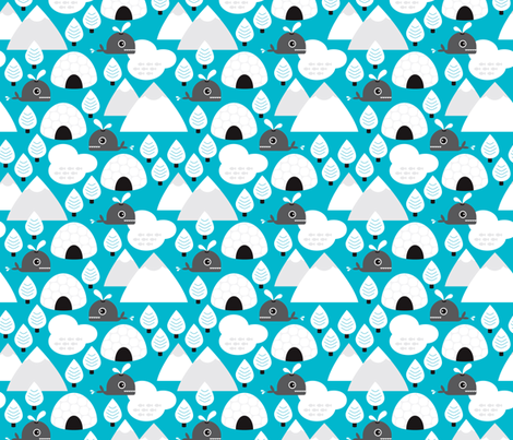Scandinavian winter  ice and snow whale fabric by littlesmilemakers on Spoonflower - custom fabric