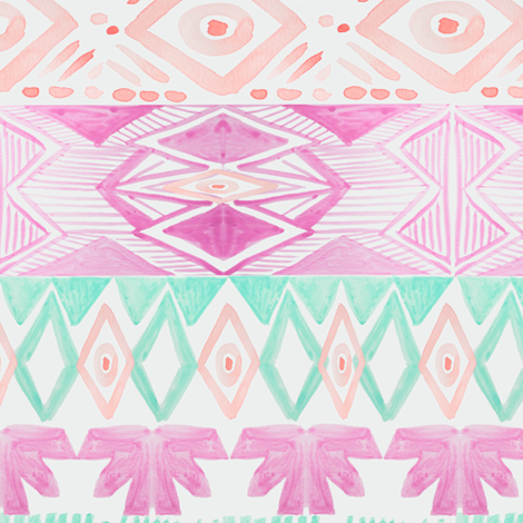 Tribal in Orchid Mint Blush fabric by emilysanford on Spoonflower - custom fabric