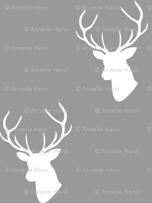 Gray & White Deer Silhouette
