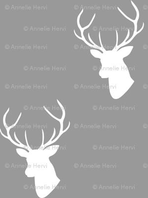 Gray & White Deer Silhouette