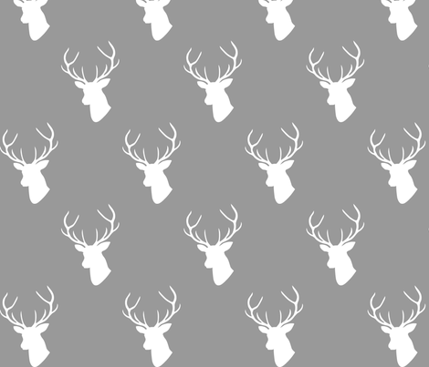 Gray & White Deer Silhouette fabric by mrshervi on Spoonflower - custom fabric