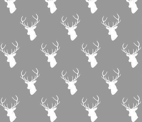 Gray & White Deer Silhouette fabric by mrshervi on Spoonflower - custom fabric