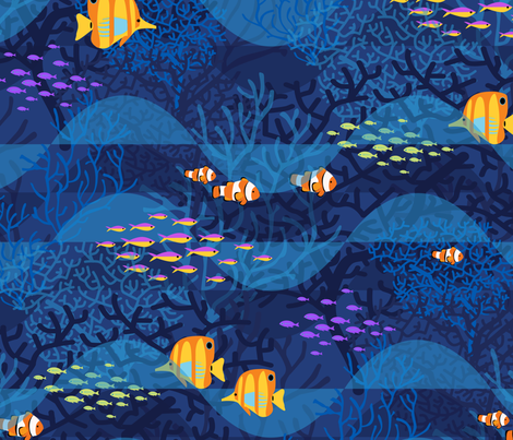 Indigo Dreams with Golden Fishes_24 fabric by robinpickens on Spoonflower - custom fabric