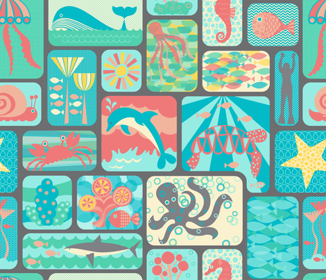 Sealife Snapshots fabric by studio_amelie on Spoonflower - custom fabric