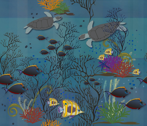The first view of the Reef fabric by liluna on Spoonflower - custom fabric